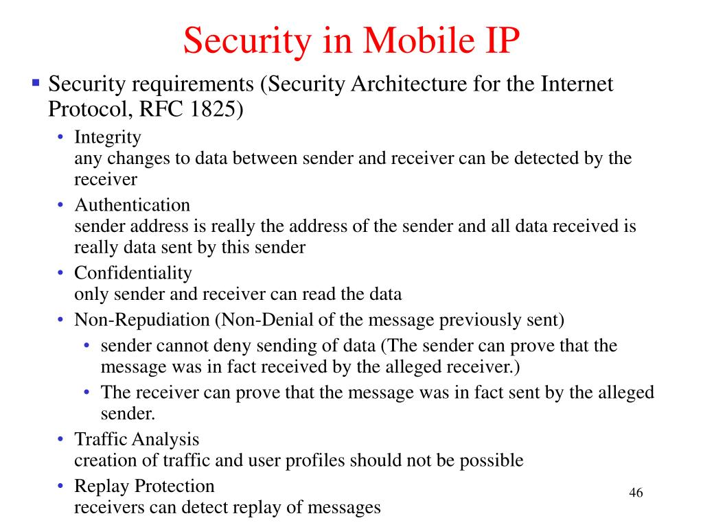 Security in Mobile IP