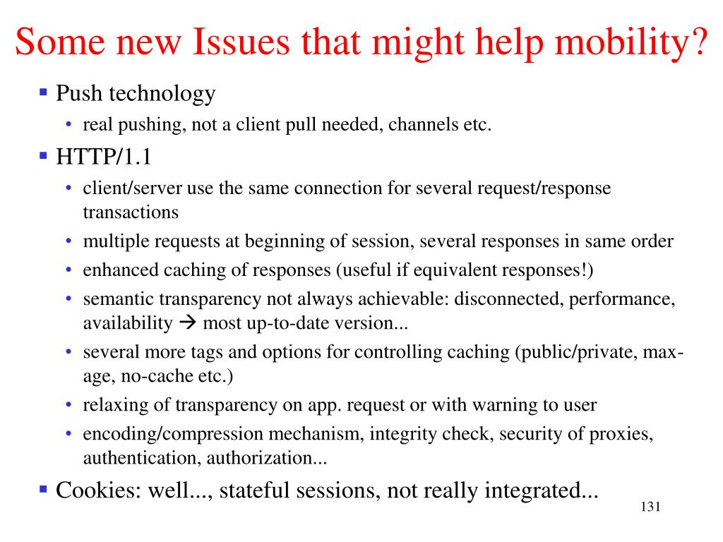 Some new Issues that might help mobility?