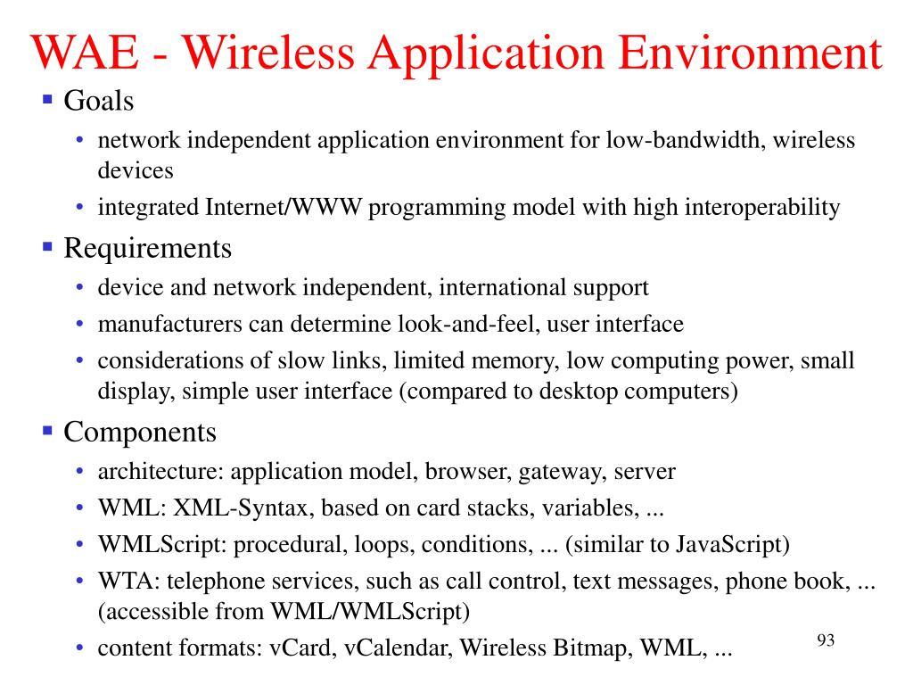 WAE - Wireless Application Environment