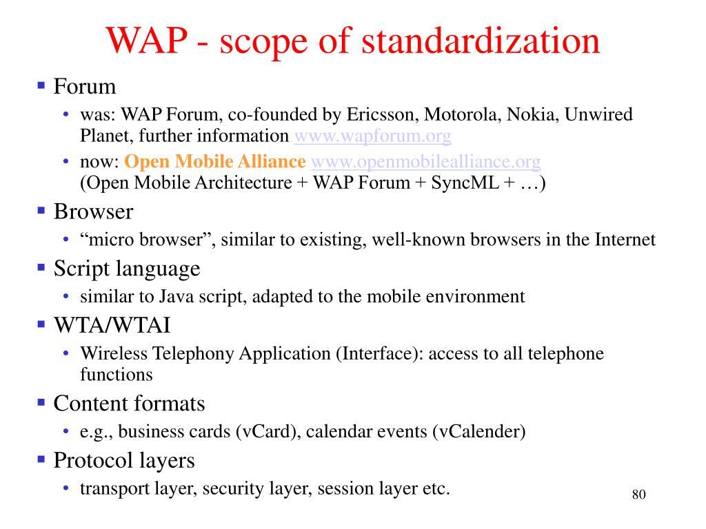 WAP - scope of standardization
