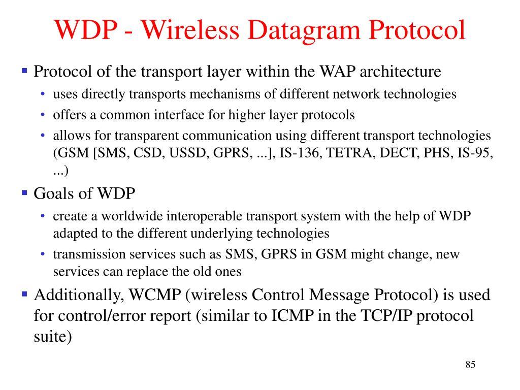 WDP - Wireless Datagram Protocol