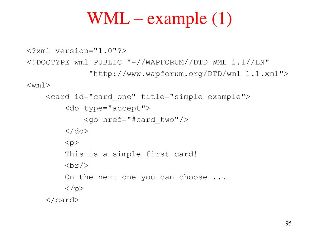 WML – example (1)