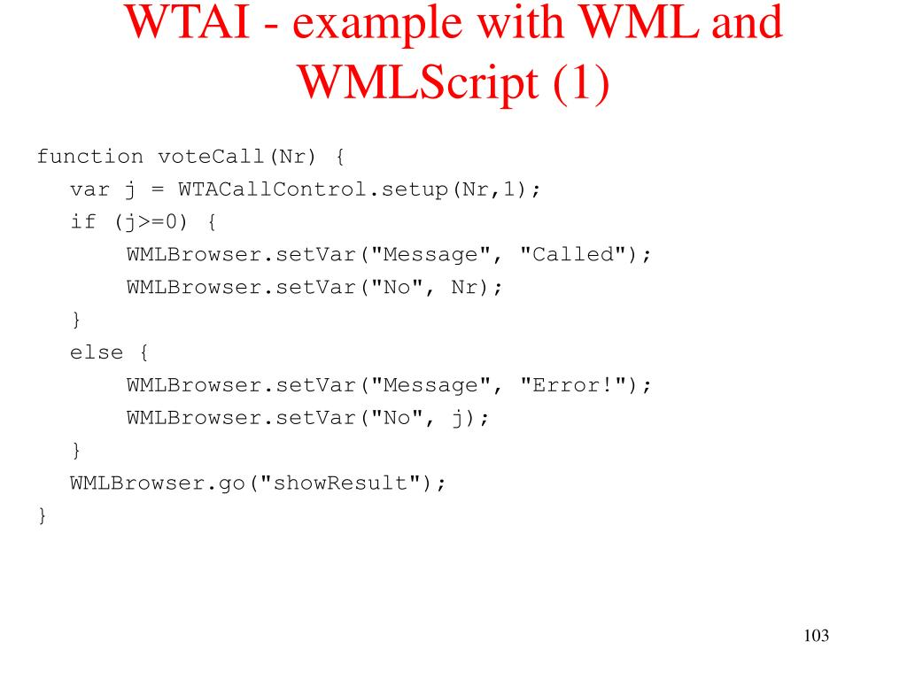 WTAI - example with WML and WMLScript (1)