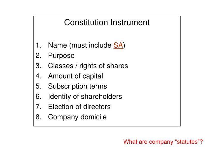 Constitution Instrument