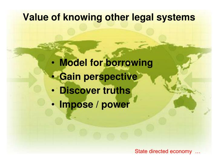 Value of knowing other legal systems