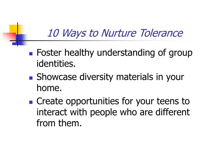 10 Ways to Nurture Tolerance