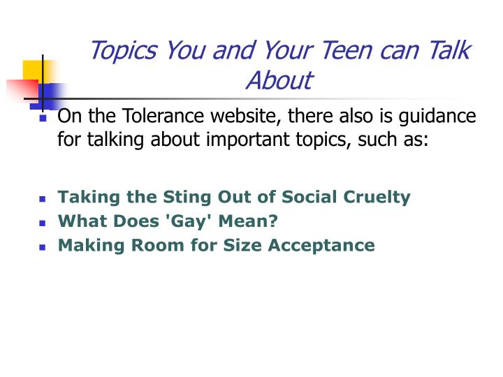 Topics You and Your Teen can Talk About