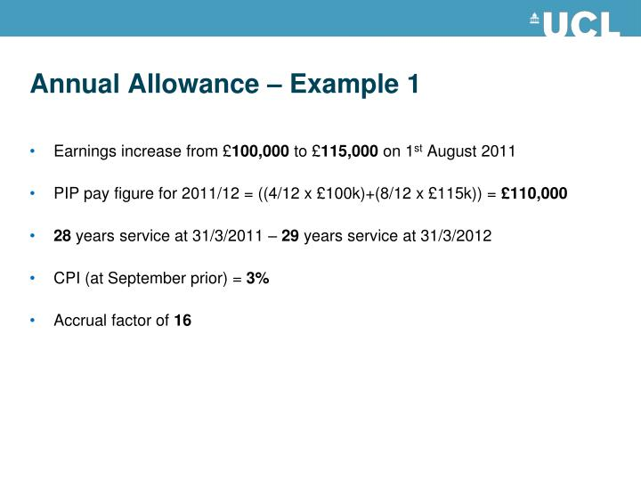 Annual Allowance – Example 1