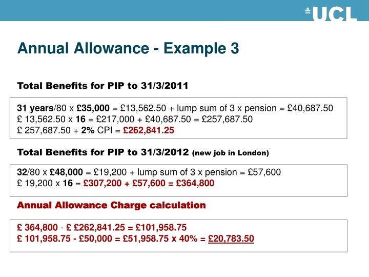 Annual Allowance - Example 3