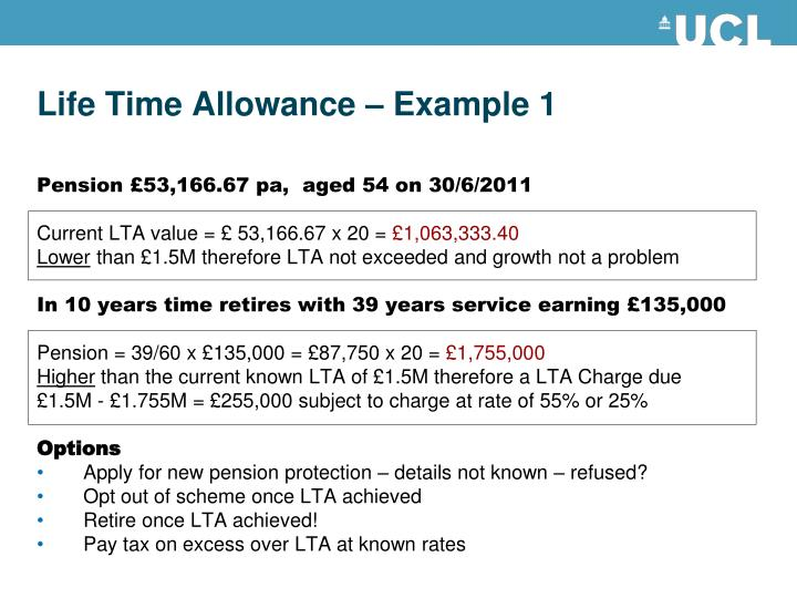 Life Time Allowance – Example 1