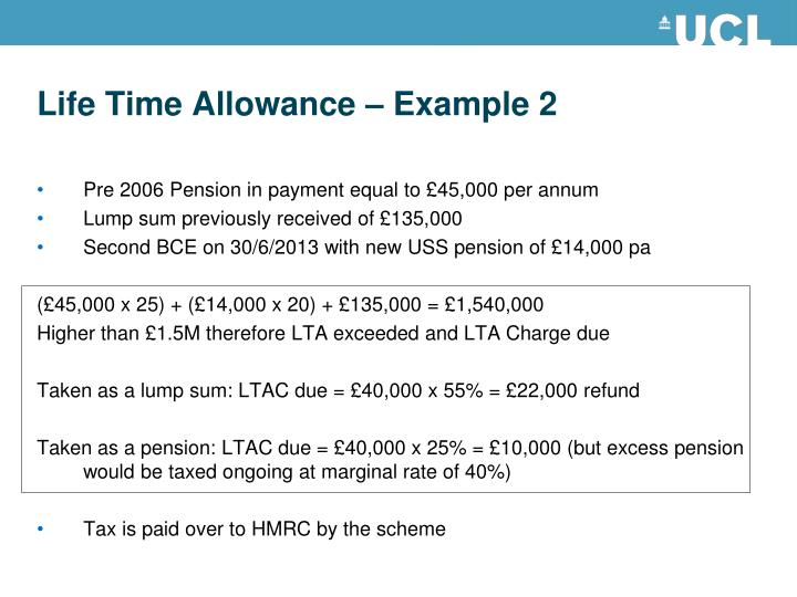 Life Time Allowance – Example 2