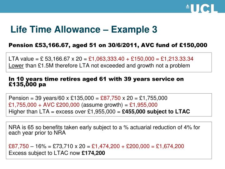 Life Time Allowance – Example 3