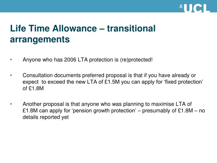Life Time Allowance – transitional arrangements