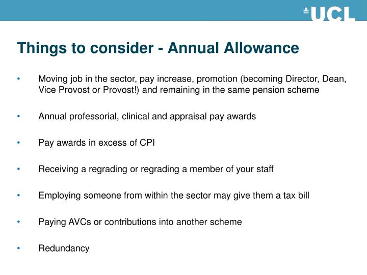 Things to consider - Annual Allowance