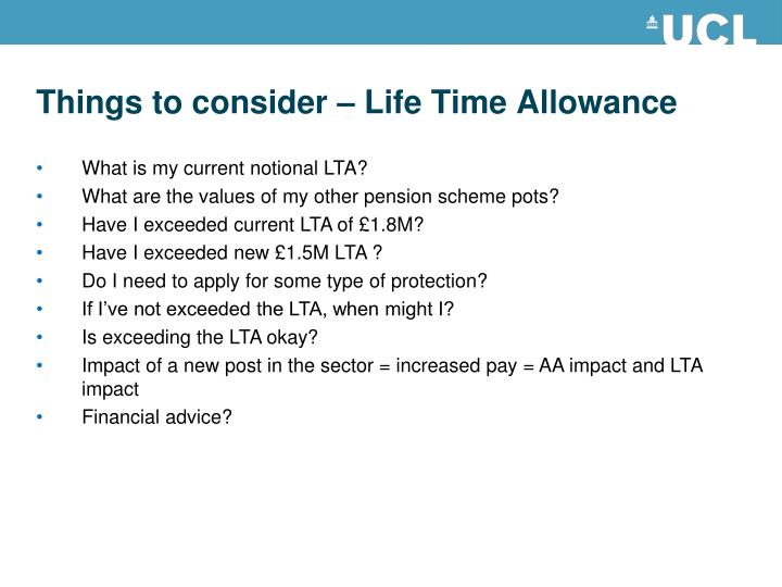 Things to consider – Life Time Allowance