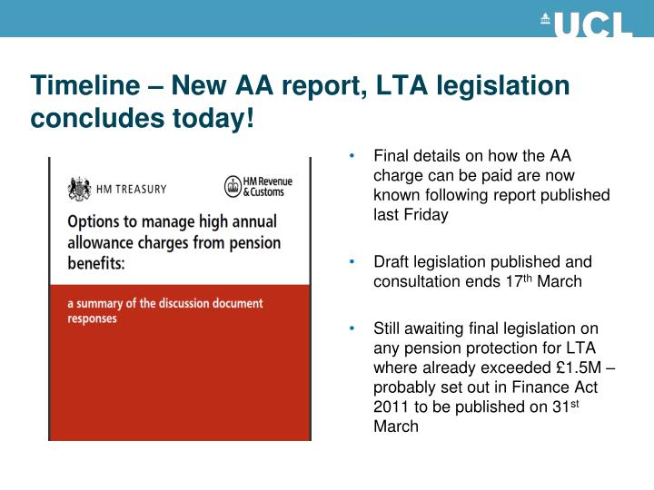 Timeline – New AA report, LTA legislation concludes today!