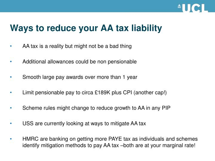 Ways to reduce your AA tax liability