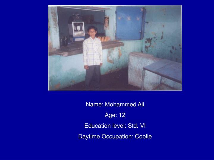 Name: Mohammed Ali