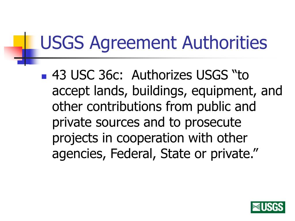 USGS Agreement Authorities