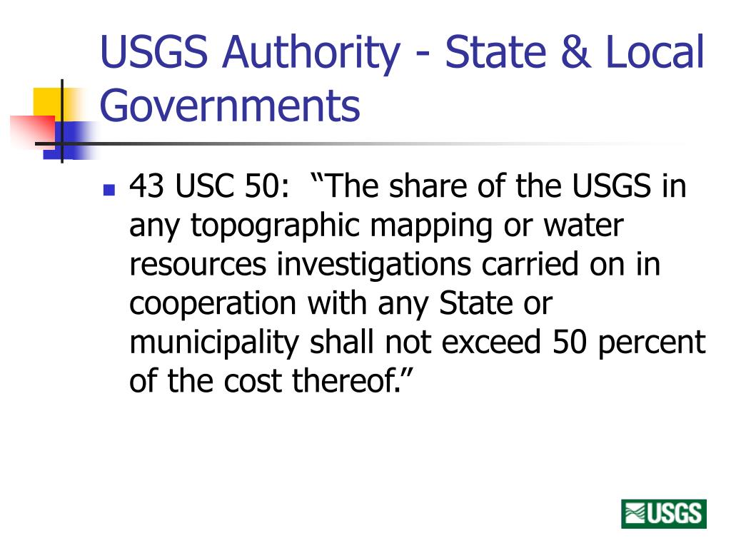 USGS Authority - State & Local Governments