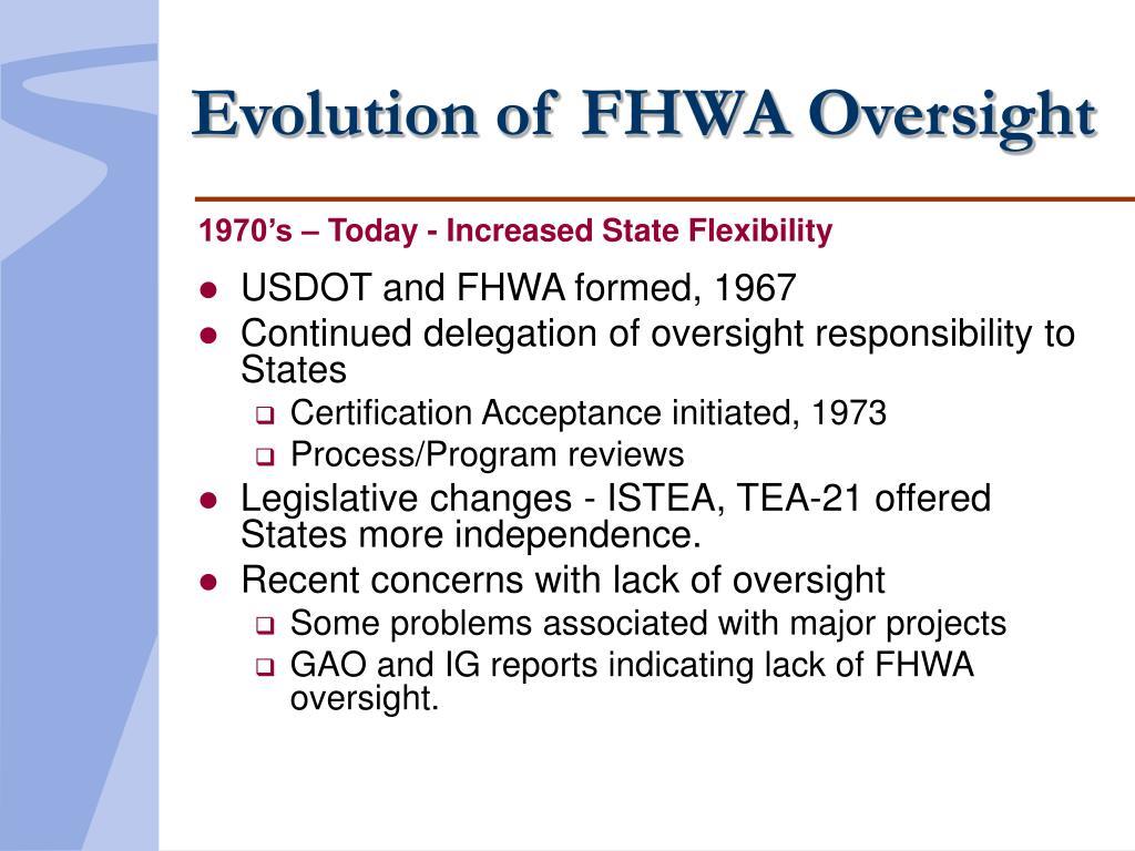 Evolution of FHWA Oversight