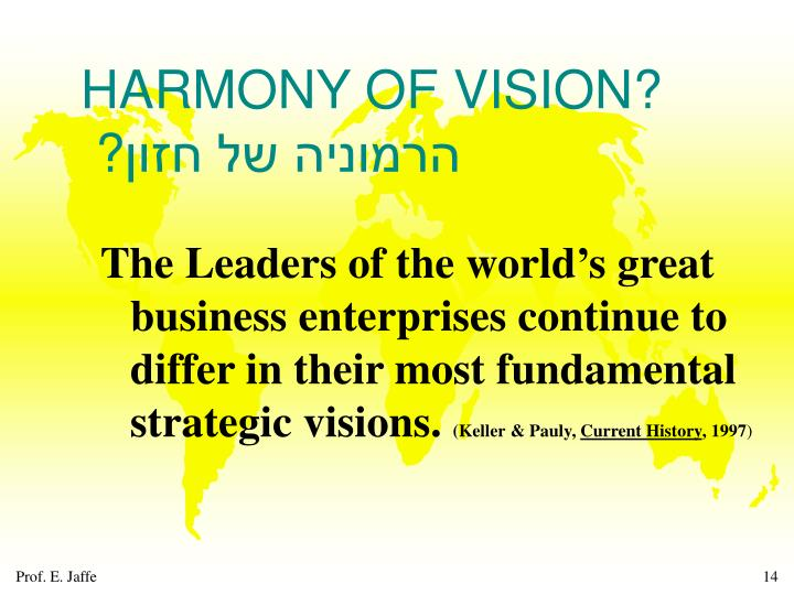 HARMONY OF VISION?