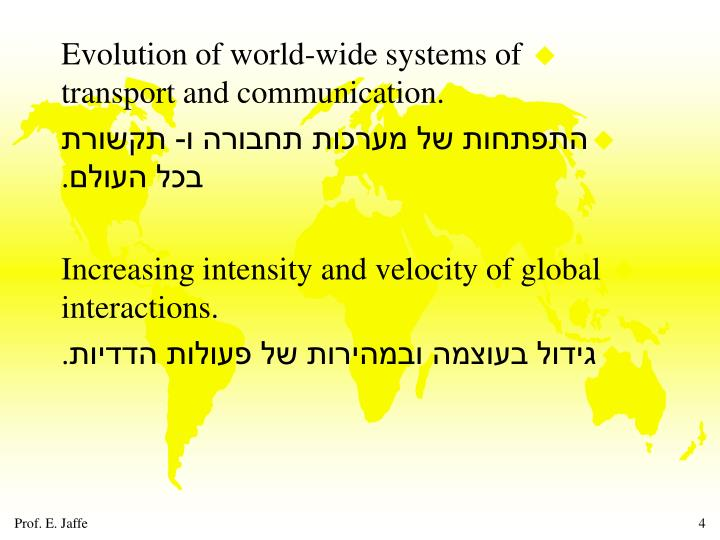 Evolution of world-wide systems of transport and communication.