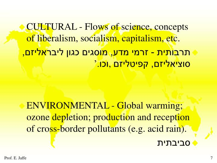 CULTURAL - Flows of science, concepts of liberalism, socialism, capitalism, etc.