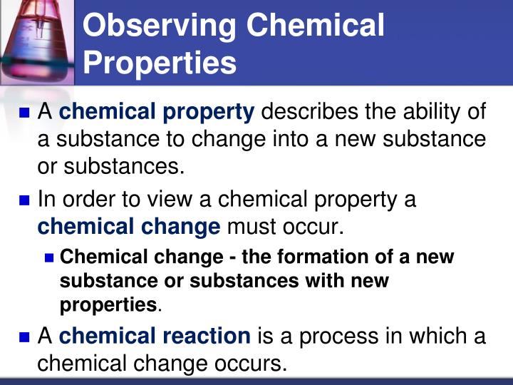 exp 1 observations of chemical changes We've talked about mixtures and solutions, solutes and solvents, but what about things that can't be undone what about chemical changes would it surprise you to know that baking a cake is a.