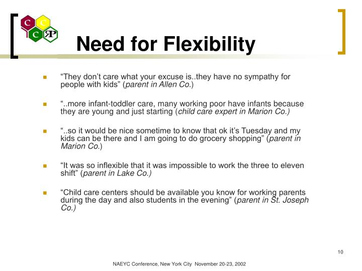 Need for Flexibility