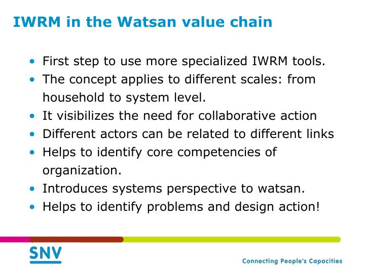 IWRM in the Watsan value chain