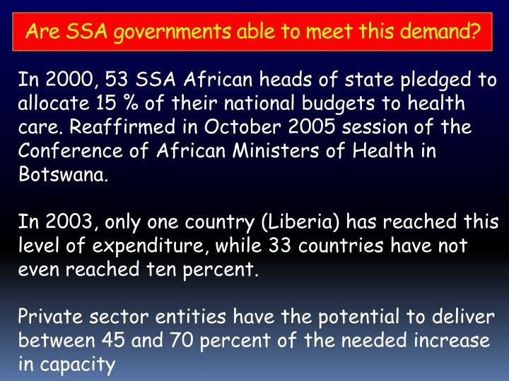 Are SSA governments able to meet this demand?