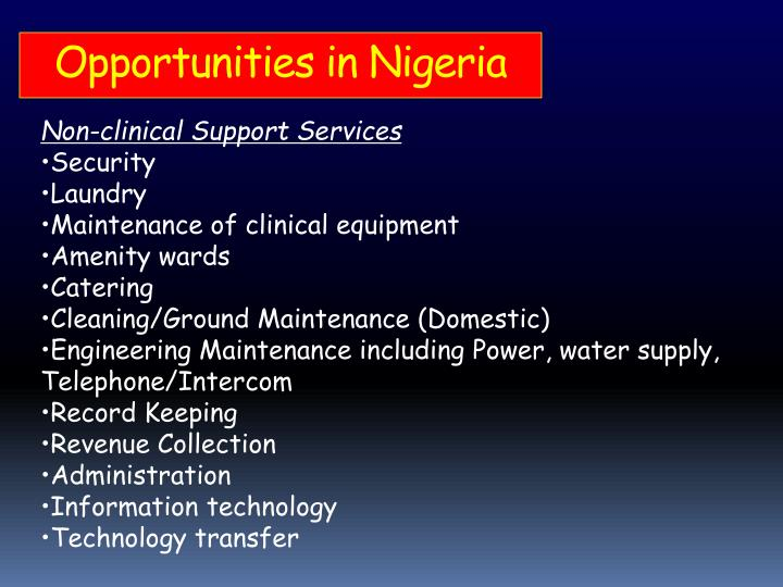 Opportunities in Nigeria
