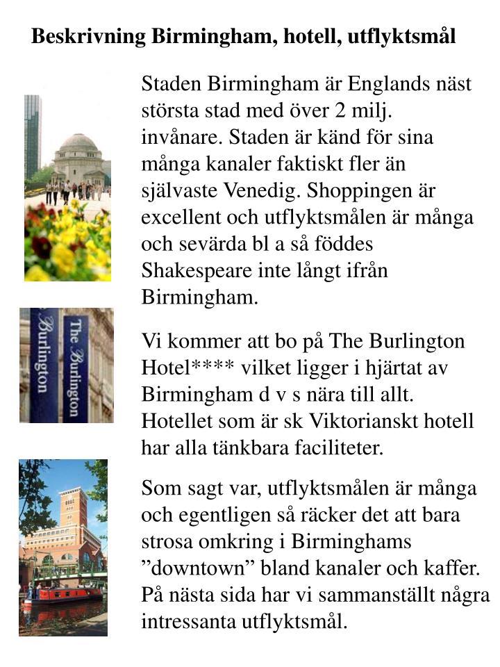 Beskrivning Birmingham, hotell, utflyktsmål