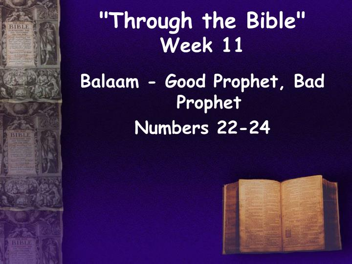 Through the bible week 11