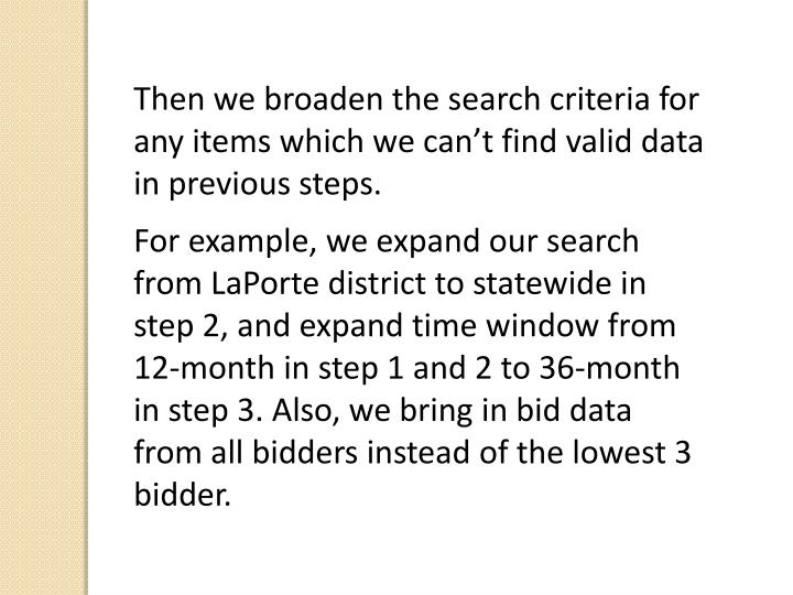 Then we broaden the search criteria for any items which we can't find valid data in previous steps.