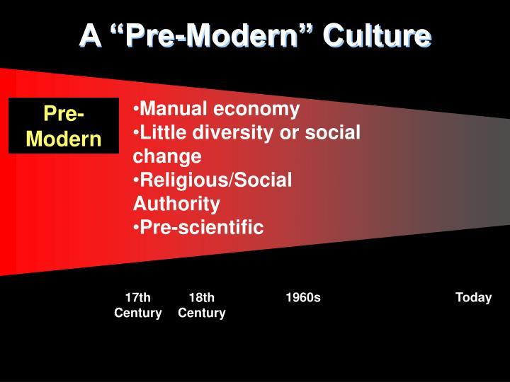 """A """"Pre-Modern"""" Culture"""