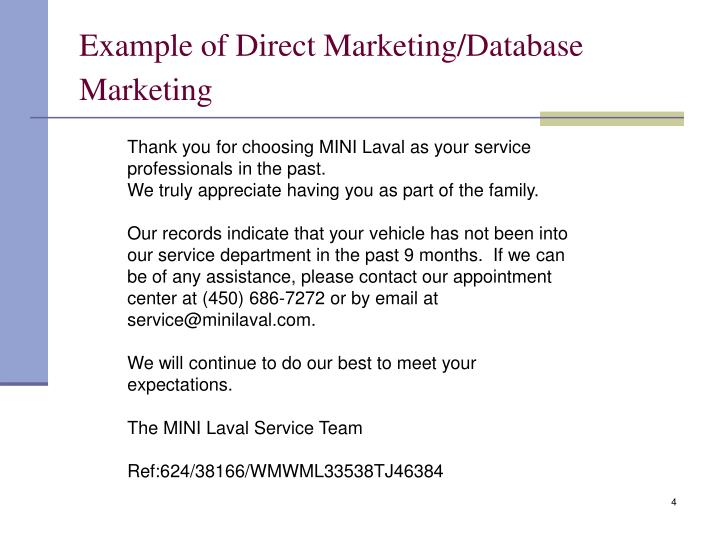 Example of Direct Marketing/Database Marketing