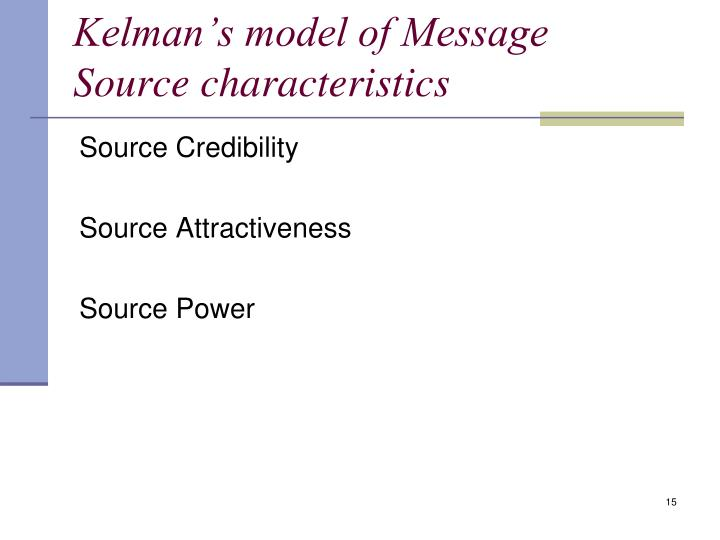 Kelman's model of Message Source characteristics