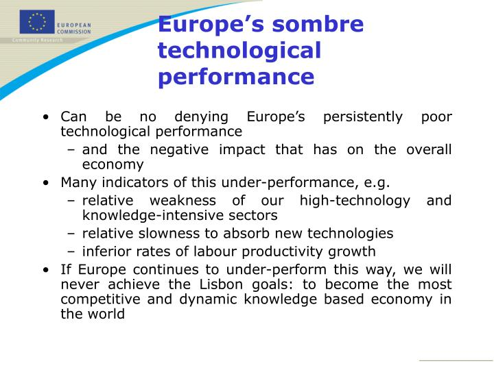 Can be no denying Europe's persistently poor technological performance