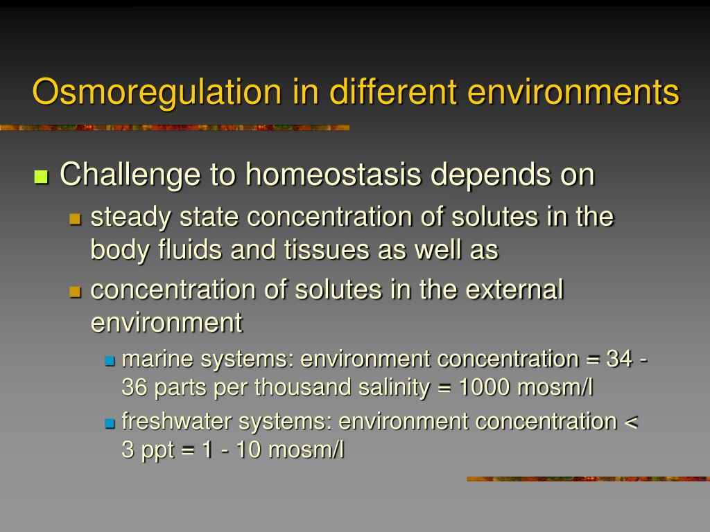 Osmoregulation in different environments