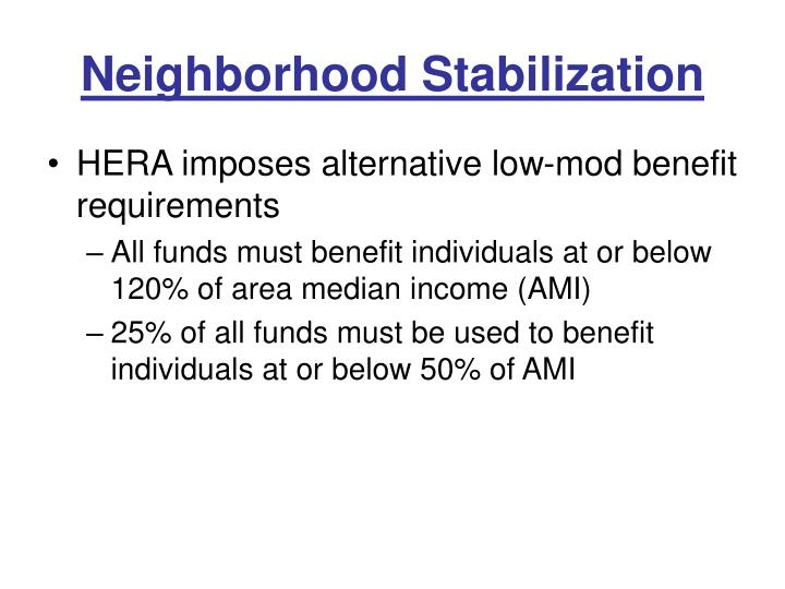 Neighborhood Stabilization