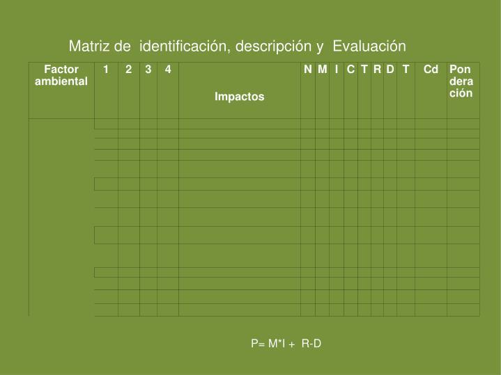 Matriz de  identificación, descripción y  Evaluación