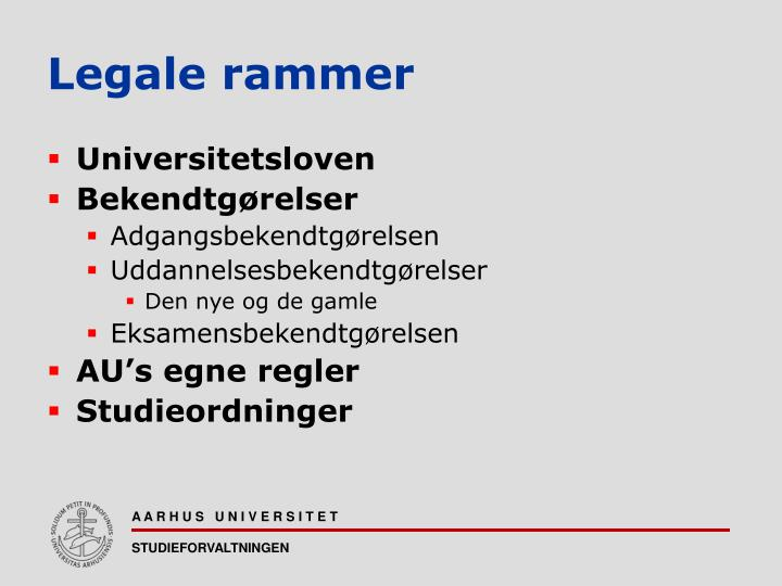 Legale rammer