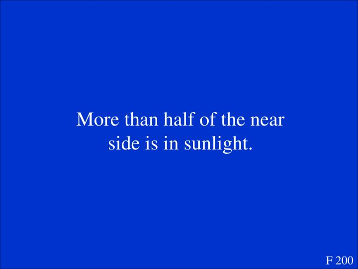 More than half of the near side is in sunlight.