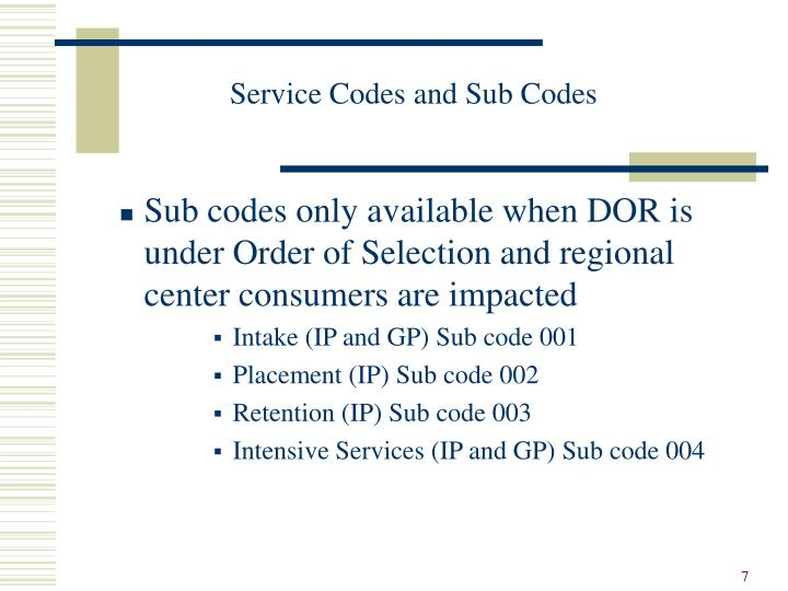 Service Codes and Sub Codes