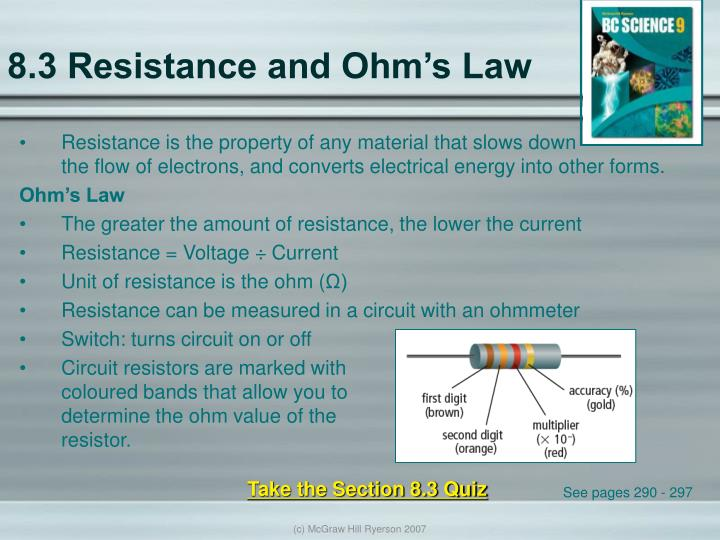 8.3 Resistance and Ohm's Law