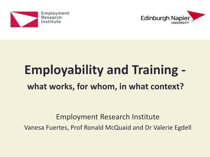 Employability and training