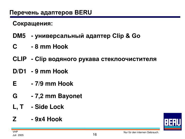 Перечень адаптеров BERU
