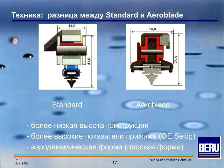 Техника:  разница между Standard и Aeroblade